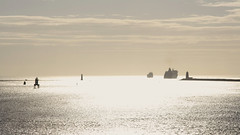Three lighthouses; port of Dublin (Wendy:) Tags: morning dublin lighthouse silhouette highkey shipping southwall northbanklighthouse