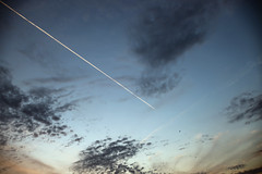 Air Traffic (pantagrapher) Tags: sunset sky chicago clouds airplane nikon contrail gbrearview chicagoist d600 northcenter