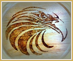 Xylopyrograph (Andy - Daft as a brush - don't ask!) Tags: wood eagle picasa www xxx eee xylopyrography xylopyrograph