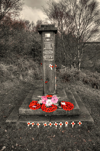 WELLINGTON BOMBER CRASH MEMORIAL (SELECTIVE COLOUR RED), HURST HILL, LEAD MINES CLOUGH, ANGLEZARKE, LANCASHIRE, ENGLAND.