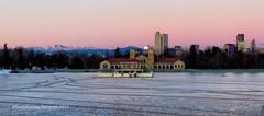 Denver City Park (RondaKimbrow) Tags: park morning lake mountains building skyline sunrise frozen colorado glow denver structure archeticture denvercitypark rondakimbrowphotography