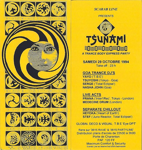 "Patrice Heyoka - Flyer 29/10/1994 - TBE ""Tsunami"" (Paris) <a style=""margin-left:10px; font-size:0.8em;"" href=""http://www.flickr.com/photos/110110699@N03/12206333946/"" target=""_blank"">@flickr</a>"