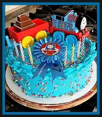 Thomas the Train Cake by Cathy, Santa Cruz,CA, www.birthdaycakes4free.com