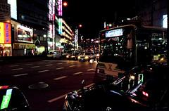 Nanba Night Lights (The Dent.) Tags: longexposure film japan analog taxi kansai nanba colournegative gitzotripod fujis100