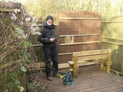 "Alan putting finishing touches to the bird hide, Feb2014 • <a style=""font-size:0.8em;"" href=""http://www.flickr.com/photos/60890513@N06/12851820054/"" target=""_blank"">View on Flickr</a>"