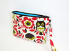 Laminated zip pouch with detachable strap (Stitchin Sista) Tags: bag japanese design diy handmade sewing craft sew creation fabric cotton pouch fox kawaii owl strap zipper hedgehog create imadethis storybook zakka forestanimals oilcloth laminated wristlet folktale waterresistant wetbag zippouch zipperpouch forestfriends laminatedcotton laminatedfabric