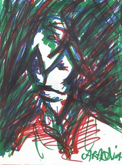Buco na chuva (spamoufraude) Tags: blue red portrait selfportrait color green art pen painting paper sketch artwork paint artist autoportrait drawing sketchbook marker draw dibujo