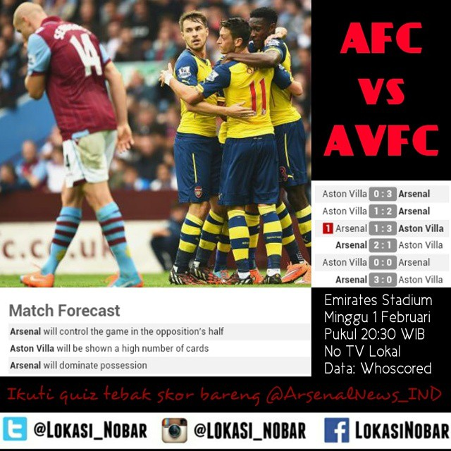 Lokasi Nobar: Next match (quiz): Arsenal vs Aston Villa cc @arsenalnews_ind