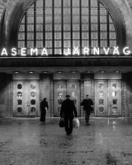 At  the station (Antti Tassberg) Tags: street city winter urban blackandwhite bw monochrome station train finland prime helsinki cityscape railway talvi 15mm vr juna asema uusimaa kaupunki rautatieasema katu