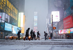 Abbey Road, Times Square NYC (Nick Mulcock) Tags: road nyc newyorkcity winter snow newyork storm cold abbey car weather square crossing taxi timessquare abbeyroad times snowing crosswalk harsh unplowed