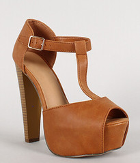 "leatherette buckle t strap peep toe tan • <a style=""font-size:0.8em;"" href=""http://www.flickr.com/photos/64360322@N06/16351553575/"" target=""_blank"">View on Flickr</a>"