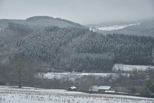 La vallée de l'Amblève en hiver