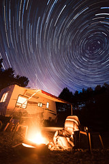 Starcraft Star Trail (Heather_K_Jones) Tags: nightphotography travel trees canada night forest stars woods rainforest bc britishcolumbia victoria adventure vancouverisland campfire galaxy astrophotography pacificnorthwest astronomy nightsky trailer rv newmoon camper westcoast milkyway yyj startrailscamping mexianblanket