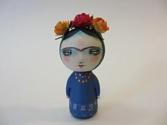 frida custom kokeshi wood peg doll (amber leilani) Tags: kokeshi woodpegdoll
