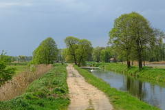 spring at its best (JoannaRB2009) Tags: road blue trees house storm building green nature water weather clouds reflections river landscape spring sand view path poland polska lodzkie dzkie bedwka