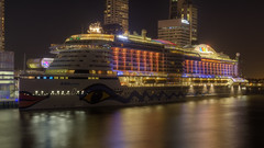 AIDAprima by night in Rotterdam (R. Engelsman) Tags: night lights boat rotterdam ship vessel cruiseship aida wilhelminapier aidaprima