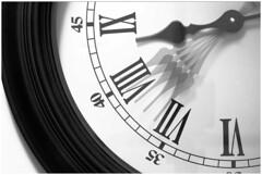 Just five minutes of your time (gazzas_pics) Tags: 6 white black macro clock canon mono hands time watch 7 8 9 45 hour 40 curve 35 mondays minutes seconds 500d macromondays
