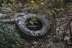 Blank, Gaw (NJphotograffer) Tags: new railroad graffiti nation hell nj rail tire crew blank jersey graff gaw hn trackside