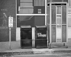 Timeworn (Ian Sane) Tags: street camera two white black southwest reflection sign wall oregon canon booth portland lens ian photography eos us is newspaper dispenser downtown photographer mail mark telephone images ii 5d usm stark avenue zone 6th selfie sane ef70200mm timeworn f28l