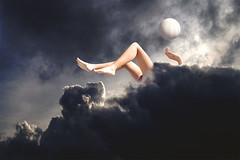 over the sky () Tags: light sky woman cloud playing feet beach girl beautiful lady photoshop ball hongkong hand legs emotion fantasy bikini volleyball beachball manipulate manuipuation