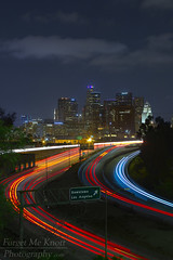 A Night on the Town (Forget Me Knott Photography) Tags: california city longexposure urban motion blur cars sign night buildings dark lights la losangeles downtown cityscape traffic freeway downtownla brianknott forgetmeknottphotography fmkphoto