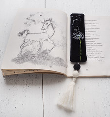 The poem about a foal and a dandelion (velvetmeadow) Tags: horse illustration reading book artwork stitching bookmark foal poetrybook handembroidery dandelionembroidery floralbookmark velvetbookmark velvetmeadow