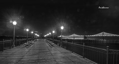 Pier 7 and Bay Bridge (Anishkumar Sugumaran) Tags: sanfrancisco california nightphotography sea bw white seascape black night landscape bay pier francisco downtown peace view nightscape sfo 7 baybridge serene lonely nightlife starburst pier7