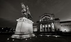 St. Louis Art Museum Night (Michael Shoop) Tags: blackandwhite bw usa statue night canon stlouis missouri saintlouis forestpark kinglouisix stlouisartmuseum arthill michaelshoop