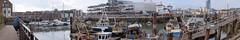 Olmpus EM1_Camber Dock_4th June 2016_BZ28 Panorama (Barry Zee) Tags: houses pub townhouse bluesky olympus hampshire fishingboats oldportsmouth fishermenswharf publichouse em1 camberdock bridgetavern seaboats thebridgetavern lipsticktower omdem1 olympusem1 olympus1240mmf28pro 1240mmf28pro