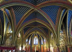 Lower chapel of the Sainte-Chapelle, Paris (Monceau) Tags: blue gold arches ceiling vault fleurdelis ribbed saintechapelle lowerchapel