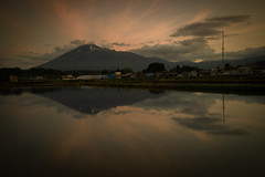 In the Reflection (jasohill) Tags: city blue color nature japan reflections photography gold golden spring heaven rice earth iwate nexus matsuo paddies hachimantai 2016 jasohill