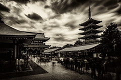 The ghosts of Sensoji (JohnNguyen0297) Tags: longexposure motion monochrome japan sepia clouds temple sensoji tokyo movement mood antique sony ghost dramatic spooky le ghosts asakusa ghostly bnw mystic ails transcendent nd8 cloudstreak a6000 atmostpheric ilce6000 ghostsofsensoji
