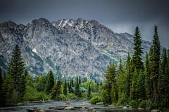 River and Cabin in the Grand Tetons (donnieking1811) Tags: trees mountains animals skyline outdoors rivers wyoming tetons