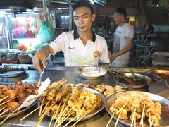 skewers (PJHarrison) Tags: street travel food singapore southeastasia market malaysia dining satay hawkers skewers