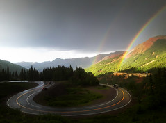 rainbows! (marianna - away for a while) Tags: road light two rainbow colorado spectrum double curved ouray mariannaarmata lumixstories