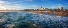 Santa Monica Beach Panorama (danielacon15) Tags: ocean travel family blue sunset sky usa beach pier losangeles waves close waterfront image santamonica sunny panoramic friendly destination merger