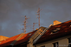 Golden Sunset - Abendgold (Sockenhummel) Tags: roof berlin evening abend fuji haus fujifilm dach antenne huser xt10 fujixt10
