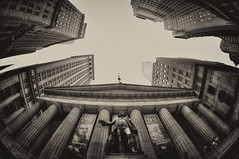 Federal Hall (Brandon Godfrey) Tags: federalhall newyorkcity newyork nyc manhattan lowermanhattan wallst nassaust georgewashington fisheye sepia bw blackandwhite usa unitedstatesofamerica unitedstates