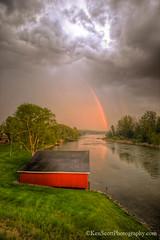 Lake Leelanau ... rainbow over 'the Narrows' (Ken Scott) Tags: usa reflection spring rainbow michigan may boathouse hdr leelanau lakeleelanau thenarrows 2016 45thparallel inlandlake kenscott srormclouds kenscottphotography kenscottphotographycom