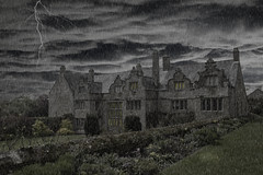 Spooky Manor House (The Original Happy Snapper) Tags: windows light storm building wet rain architecture clouds photoshop dark image lightning grounds manorhouse