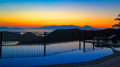 Sunrise Lefkas (babell4321) Tags: sea sky pool sunrise reflections view greece villa sunbeds fterno villaremni