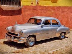 Silver Beauty, Trinidad, Cuba (augenbrauns) Tags: painterly silver classiccar vintagecar cuba trinidadcuba