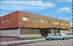 Pioneer Motor Hotel, Humboldt, Saskatchewan (SwellMap) Tags: architecture vintage advertising design pc 60s fifties postcard suburbia style kitsch retro nostalgia chrome americana 50s roadside googie populuxe sixties babyboomer consumer coldwar midcentury spaceage atomicage