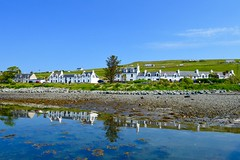 Stein (rustyruth1959) Tags: blue trees houses light sea sky white seascape seaweed beach nature water buildings reflections landscape coast scotland inn nikon rocks isleofskye outdoor shingle pebbles highland loch nikkor stein nikond3200 lochbay