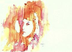 (Victória, from Telex) Tags: watercolor self portrait auto retrato pintura aquarela sketch doodle drawing