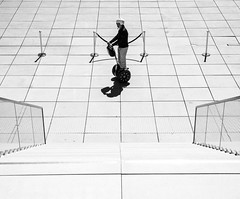 Urban World (Georgie Pauwels) Tags: street urban blackandwhite white monochrome lines drive geometry streetphotography olympus symmetry segway forms minimalism middle