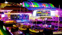 Vivid Sydney, National Maritime Museum (Andy Burton Oz) Tags: abstract color colour building night marina boats sydney australia nsw newsouthwales darlingharbour pyrmont yachts nationalmaritimemuseum sydneyharbour afterdark builtenvironment sydneycove 2016 portjackson laserlight tumbalong andyburton afsdxvrzoomnikkor1855mmf3556g aperture36 vividsydney festivaloflightandsound nikond7100 flickrexport412