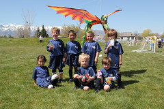 Group picture with the dragon kite 3 (Aggiewelshes) Tags: ben soccer may sean peter olsen cailin grouppicture 2013 dragonkite teamdragons