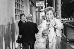 Don't stay up late (unoforever) Tags: street people monochrome night photography noche calle gente flash streetphotography streetphoto mujeres oldwomen fotografa abuelas spmonochrome unoforever