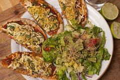 Pizza (Overview) (Proleshi) Tags: food cheese recipe lunch salad vegan nikon comida 50mm14 pizza queso health vegetarian lime ensalada lechuga tastey d300s proleshi jamalejosephs